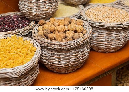 Large basket with nuts beans and grain cereals
