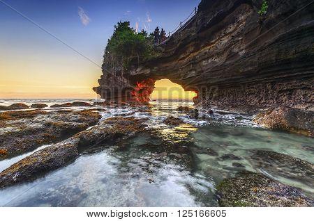Sunset at Pura Batu Bolong Tanah Lot Bali Indonesia.