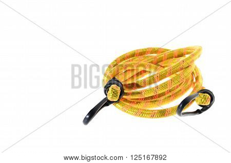 some elastic rope with metal hooks isolated on a white backgroun