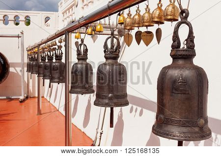 Sacral bells in Wat Saket Ratcha Wora Maha Wihan (the Golden Mount). Bangkok Thailand.