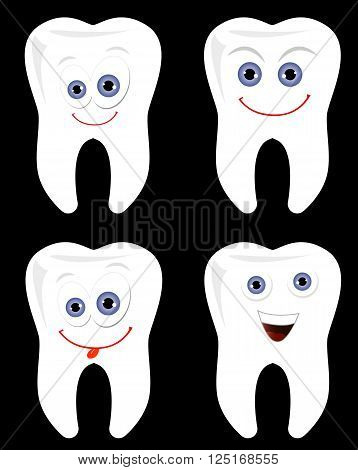Happy tooth with smiling teeth isolated over black background vector illustration set. Dental care clipart
