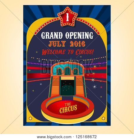Vector vintage circus background in bright red, yelow, violet and dark blue colors with illuminated elements.  illustration useful for a poster, banner, flyer, advertisement or placard graphic design