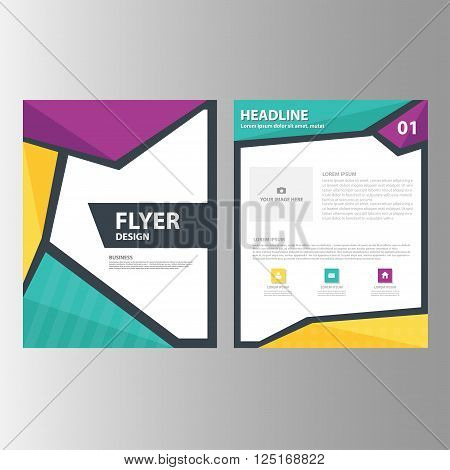 Yellow purple green Vector annual report Leaflet Brochure Flyer template design, book cover layout design