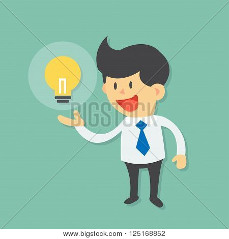 Smile Businessman try to catch light bulb idea, light bulb escape from businessman by running  flat design vector