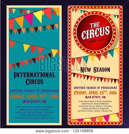 Vector vintage circus portrait backgrounds in bright beige, red, yelow and blue colors with illuminated elements. illustration useful for a poster, banner, advertisement or placard graphic design