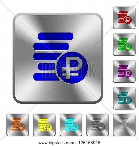 Engraved ruble coins icons on rounded square steel buttons