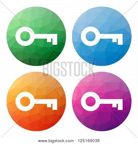 Collection of 4 isolated modern low polygonal buttons - icons - for key (password login security ...)