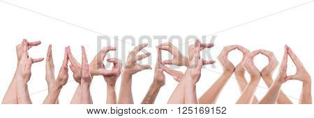 word fingerfood builded with lot of hands isolated in front of white