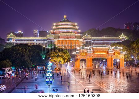 CHONGQING, CHINA - JUNE 1, 2014: Crowds at the Great Hall of the People and People's Square.