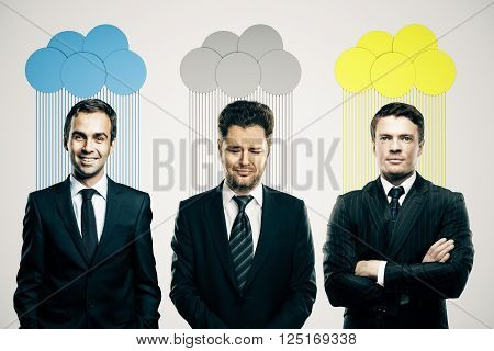 Abstract colorful clouds over heads of smiling and frowning business people on light background