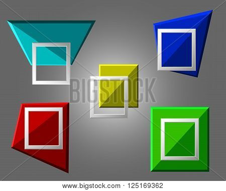 Vector Modern Origami Geometric Multicolor 3D Frames On Grey Background. Vector Illustration