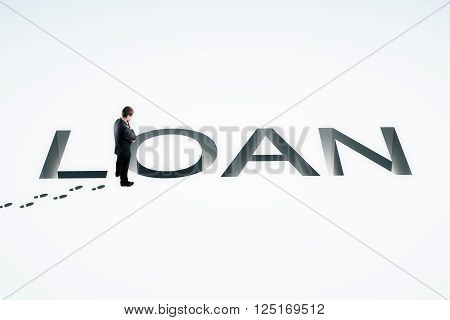 Loan concept with businessman looking into loan pit on white background. 3D Rendering