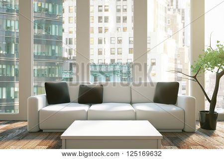 Interior design with black pillows on sofa white table and city view. 3D Rendering