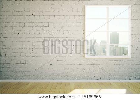 Sunlit white brick interior design with window and wooden floor. 3D Rendering