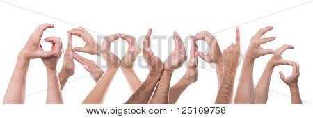 word groupies builded with lot of hands, isolated in front of white