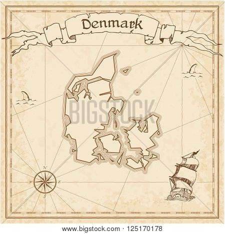 Grunge Vector Treasure Map Of Denmark. Stylized Old Pirate Map Template With Banner Ribbon And Count