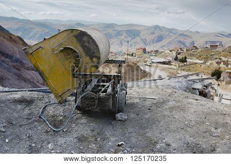 Empty mine cart at the entrance of Cerro Rico silver mine, Potosi, Bolivia