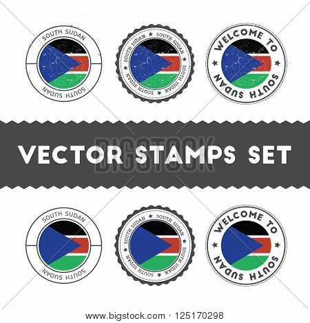 South Sudanese Flag Rubber Stamps Set. National Flags Grunge Stamps. Country Round Badges Collection