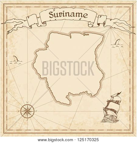 Grunge Vector Treasure Map Of Suriname. Stylized Old Pirate Map Template With Banner Ribbon And Coun