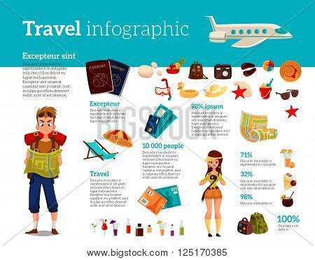 Infographics with travel concept summer vacation on the beach, tourists go hiking in travel between countries, vacation, set of vector elements of icons, card, ticket, airplane, passport, beach stuff