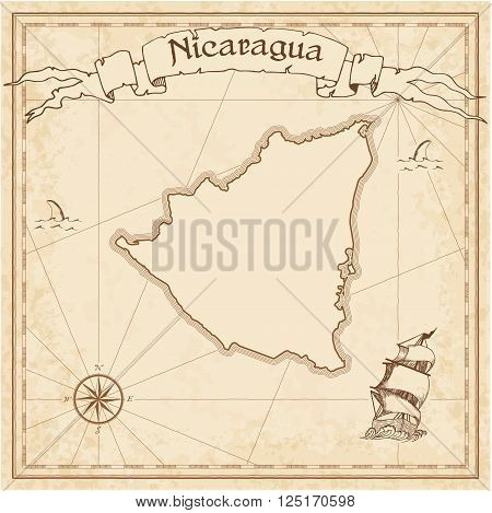 Grunge Vector Treasure Map Of Nicaragua. Stylized Old Pirate Map Template With Banner Ribbon And Cou