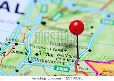 Vila Velha de Rodao pinned on a map of Portugal