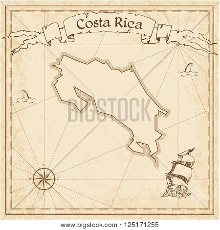 Grunge Vector Treasure Map Of Costa Rica. Stylized Old Pirate Map Template With Banner Ribbon And Co