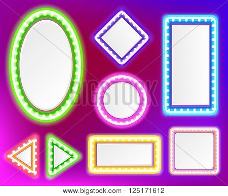 Neon framework for text. Neon light in the form of star, circle, square and other forms.Vector illustration of neon sign for a casino.Shining neon framework pink, blue, violet, green and yellow color