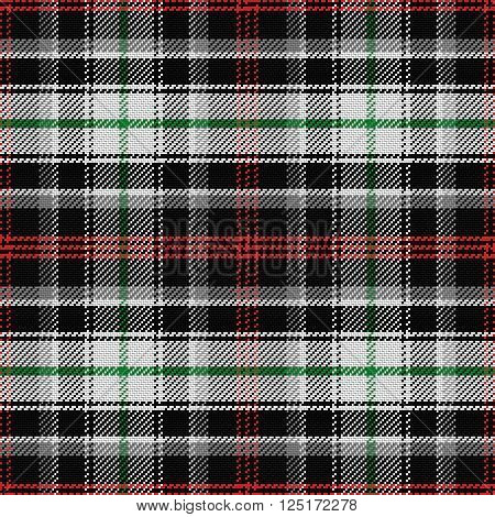 vector seamless pattern Scottish tartan panda, red and green, black, gray and white