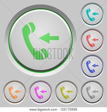 Set of color Incoming call sunk push buttons.