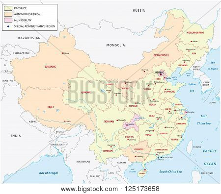 vector map of the Administrative divisions of the people republic of china