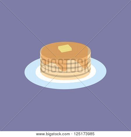 Vector Illustration of Pancakes with Maple Syrup and Butter