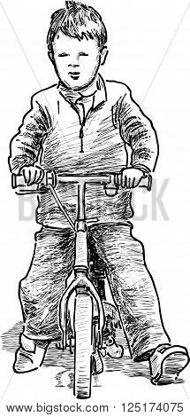 Vector drawing of a little boy rides on a bicycle.