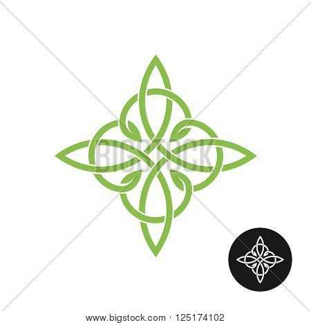 Celtic Knots Elegant Weave Cross Logo. Mono Line Decoration.
