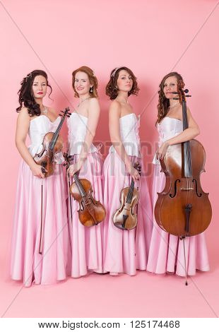 string quartet with viola cello and violins