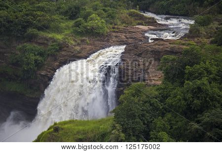 Beautiful waterfall at the Murchison Falls National Park in Uganda, Africe