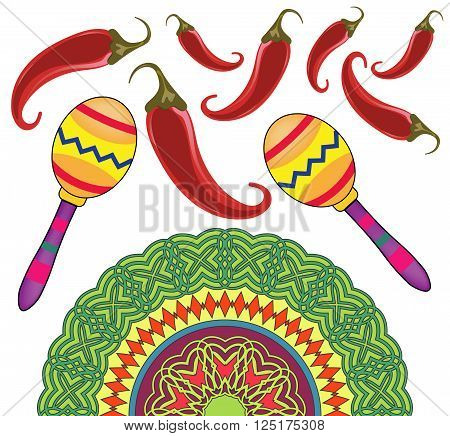 Cinco De Mayo Holiday. Maracas, musical instrument, maracas isolated. Cinco De Mayo pattern. Chilli  pepper.