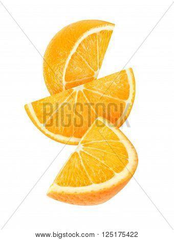Isolated Falling Slices Of Orange