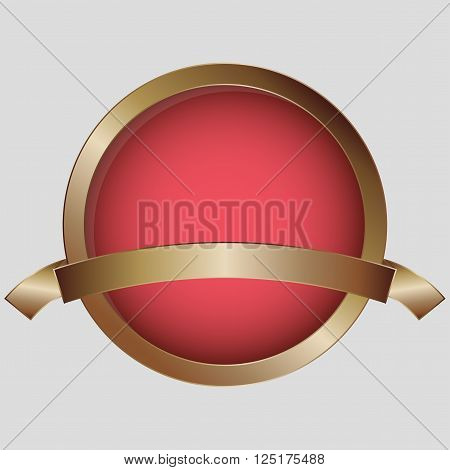 Bronze medal with red inner circle and blank ribbon. Bronze award with ribbon and place for text.