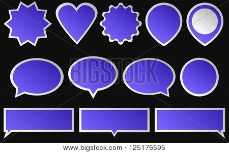 Set of blue stickers isolated on dark background. Various shapes of a blue stickers.