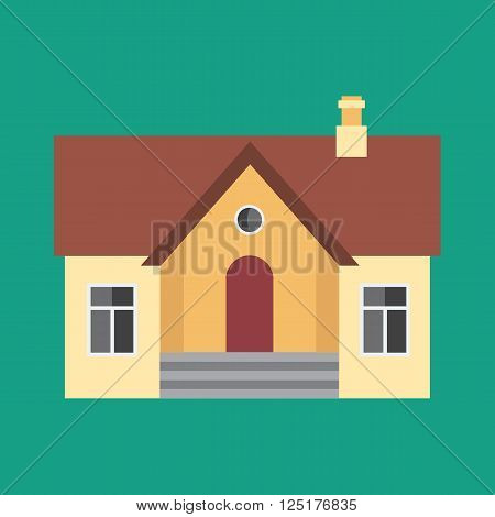 Real Estate Symbol House Building Private Property Icon. Stylish Background Modern Flat Design Vector Illustration. Solid House with flat color design