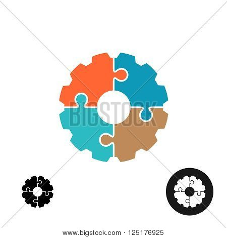 Gear Shape Puzzle Logo Or Infographic Base Concept