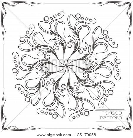Pattern wrought products on a white background and framed. Can be used as a decorative element in the design, or as a model for the drawing for forging.