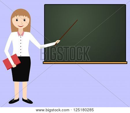 Female teacher at the chalkboard. Teacher leads the lesson. Vector illustration.