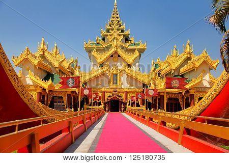 Entrance of the Karaweik palace in Yangon Myanmar (former Burma)