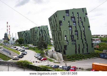 Vienna, Austria - May 7: Modern Residential Apartments Living House Exterior Near Gasometers Of Vien