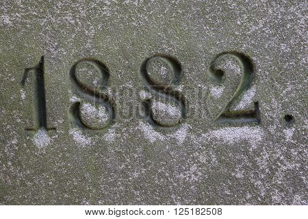Year 1882 of a grave of the cemetery of Passy in Paris