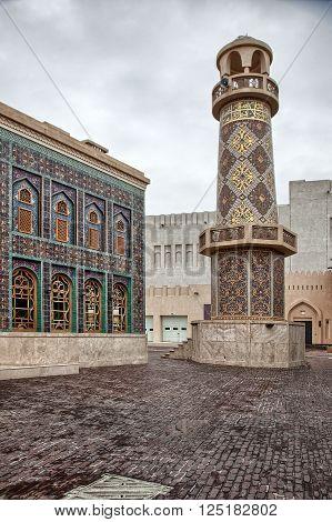 Minaret inside Katara cultural village in Doha Qatar