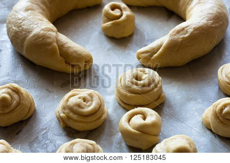 Raw pieces of buns dough before fermentation.