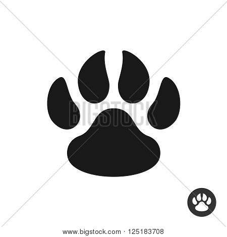 Animal Paw Black Simple Flat Icon. Foot Step Print Silhouette Symbol.